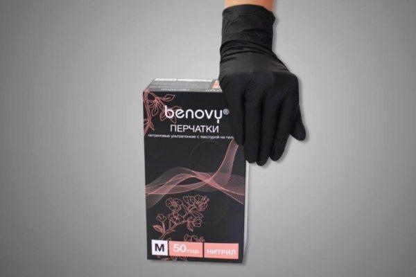 перчатки benovy нитриловые черные