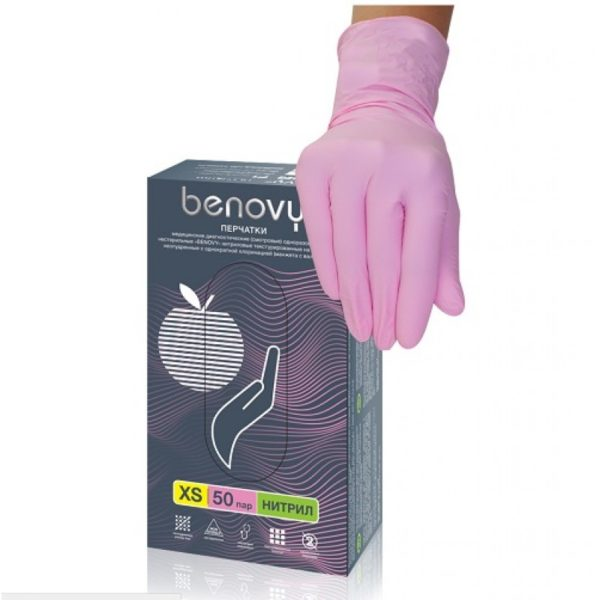 перчатки benovy нитриловые розовые
