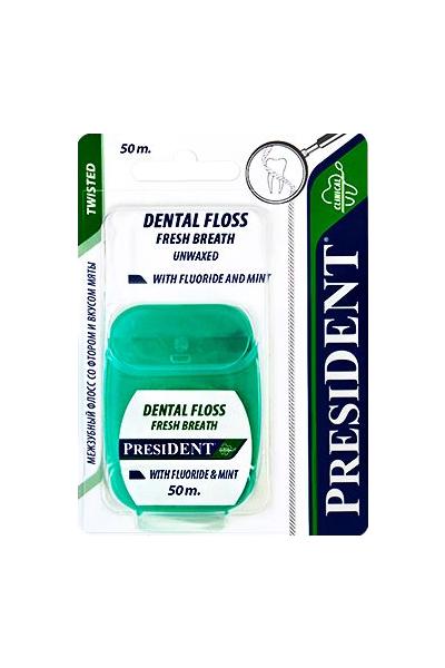 Нить зубная PRESIDENT мятная со фтором невощеная