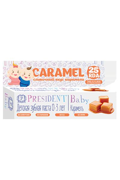 Зубная паста для детей 0-3 лет PRESIDENT Baby, со вкусом карамели