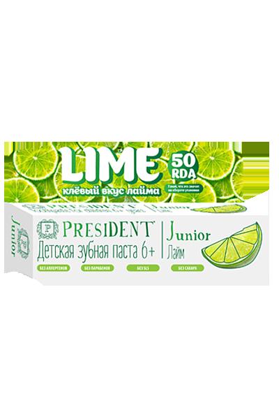 Зубная паста для детей 6-12 лет PRESIDENT Junior Lime